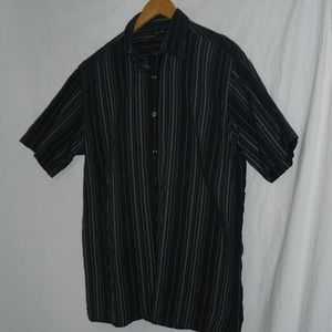 PERRY ELLIS Black & Gray Stripe SS Button-up Shirt